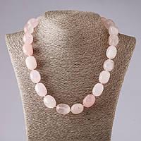 Бусы розовый кварц крупная галтовка 14х18мм 50см Код:574788170