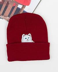 Зимняя стильная шапка бордового цвета с нашивкой мужская женская унисекс