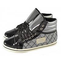 Ботиночки сникерсы на шнуровке Fashion shoes Польша, Серебряный, 38