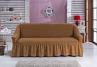 Чехол на 3х-местный диван с оборкой гошоколад