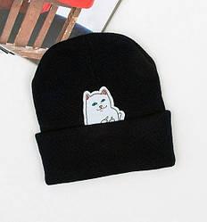 Зимняя модная шапка чёрного цвета с нашивкой мужская женская унисекс