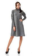 Женское платье - трапеция  с объемными рукавами. Модель П099_серый люрекс., фото 1