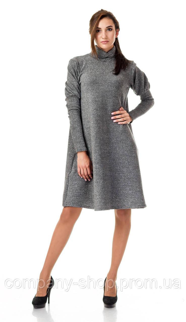 Женское платье - трапеция  с объемными рукавами. Модель П099_серый люрекс.
