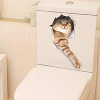 Наклейка стикер WC кот на унитаз,дверь 19см*35см