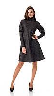 Женское платье - трапеция  с объемными рукавами. Модель П099_черный люрекс., фото 1