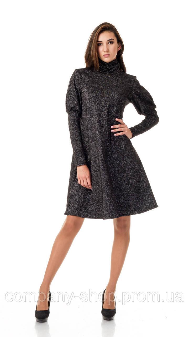 Женское платье - трапеция  с объемными рукавами. Модель П099_черный люрекс.