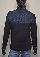 Мужской теплый свитер синий Турция 5162