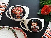 Набор фарфоровых чашек с ручной росписью в украинском стиле по мотивам Гапчинской