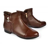 Ботинки женские коричневые с текстурой змеиной кожи «Chocolate», Коричневый, 36