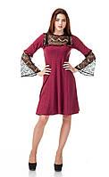 Платье оптом с кружевом. Модель П100_бордо поливискон., фото 1