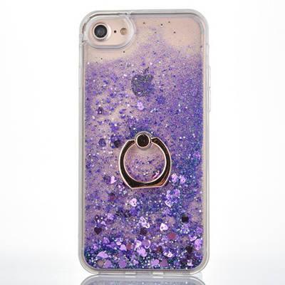 Чехол накладка на iPhone 5/5s/5se прозрачный с плавающими фиолетовыми маленькими сердечками и кольцо