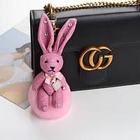 Брелок зайчик Chanel №5 с натуральным мехом кролика
