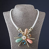 Колье из белого шнура плетенка Цветок  L-55 см Код:574795392