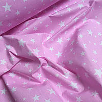 Ткань хлопковая звездопад  белые звезды на розовом фоне № 794
