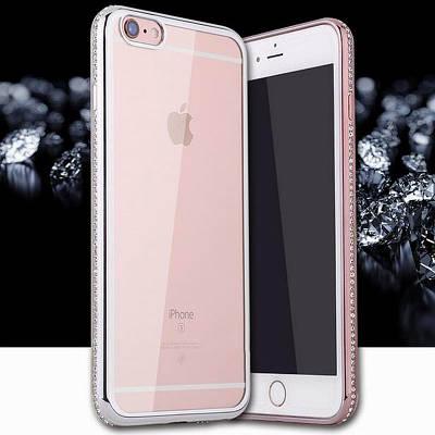 Чехол накладка на iPhone 5/5s/5se со стразами на боках без гравировки, серебро.