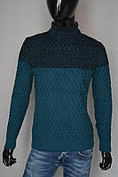 Мужской теплый свитер цветом морской волны Турция 5164