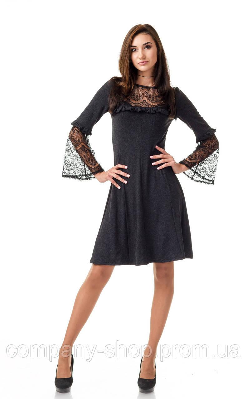 Платье оптом с кружевом. Модель П100_серый поливискон.