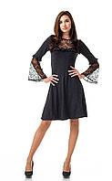Платье оптом с кружевом. Модель П100_серый поливискон., фото 1