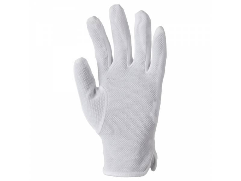 Перчатки трикотажные белоснежные, Bustard , хлопок с ПВХ микроточкой, фото 1