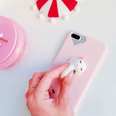 Чехол накладка на iPhone 5/5s/5se 3D котик, розовый