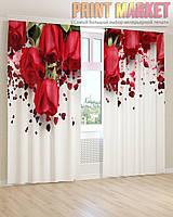 Фото шторы розы и сердечки