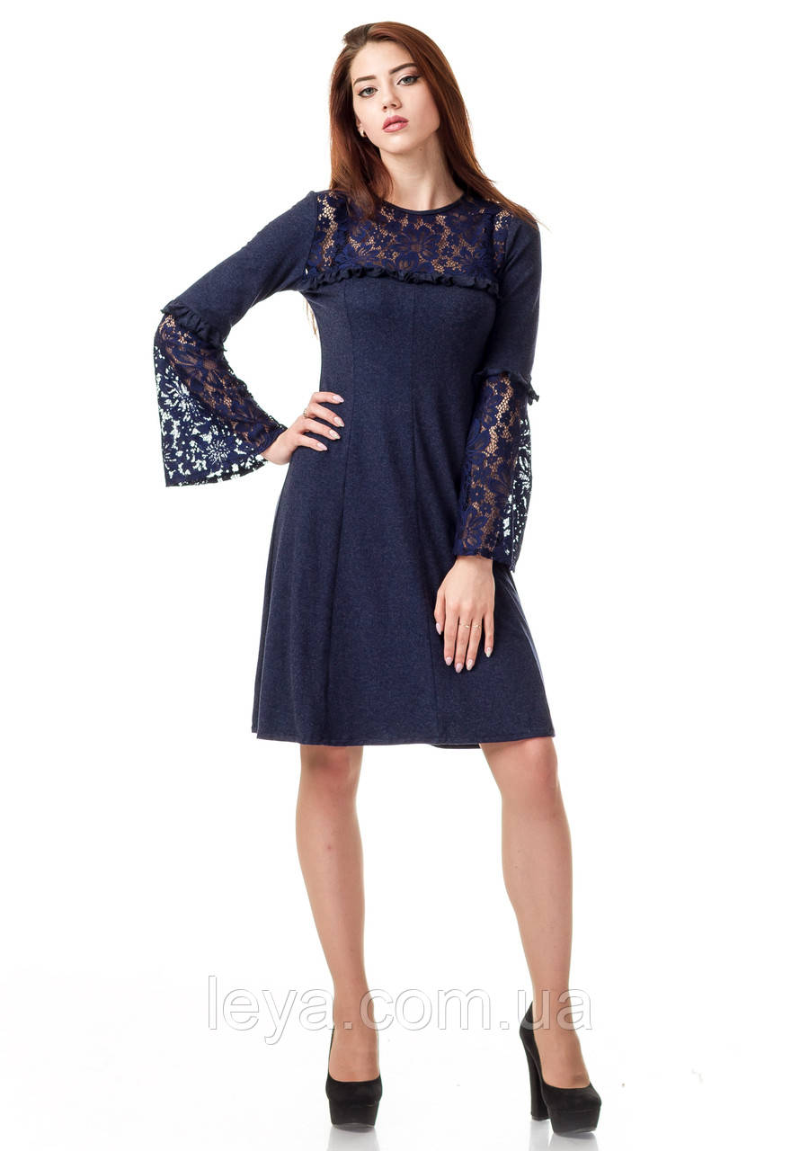 Платье оптом с кружевом. Модель П100_синий поливискон.
