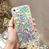 Чехол накладка на iPhone 5/5s/5se прозрачный с плавающими серебряными сердечками