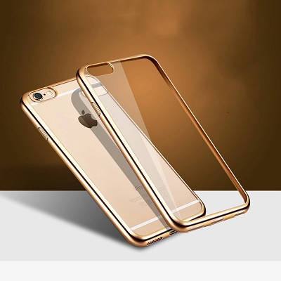 Чехол накладка на iPhone 5/5s/5se прозрачный силикон с ободком, золото