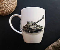 """Фарфоровая чашка с ручной росписью """"Танк"""""""