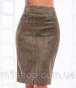 Женская замшевая юбка-карандаш больших размеров (Джослин lzn)