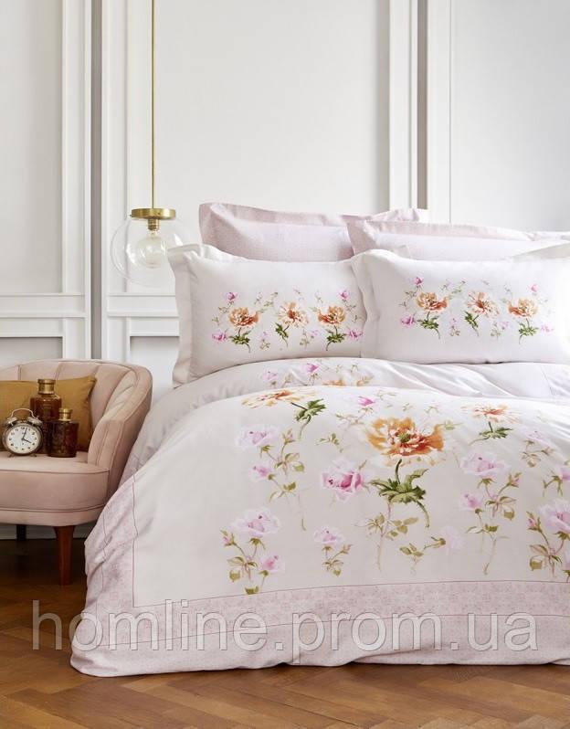 Постельное белье Karaca Home сатин Sevilya розовое евро размер