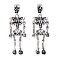 Серьги Скелеты серебристого цвета Skull Party, фото 1