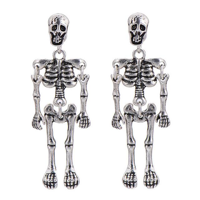 Серьги скелет серебряного цвета