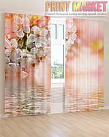 Фото шторы белые цветы над водой 3D