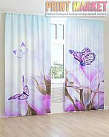 Фото шторы фиолетовые бабочки и цветы
