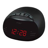 Часы сетевые 901-1 красные, радио FM