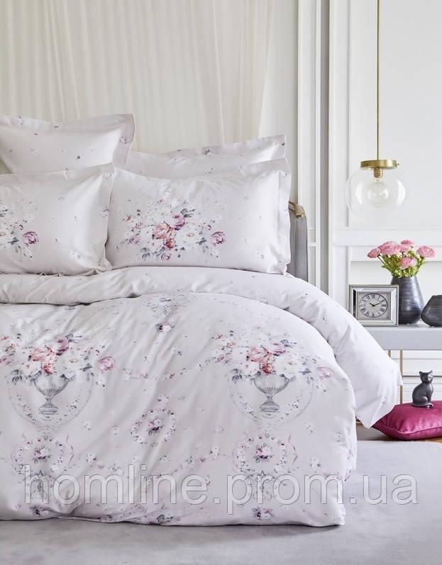 Постельное белье Karaca Home сатин Roselina серое евро размер