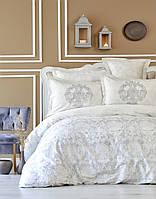 Постельное белье Karaca Home сатин Carola серое евро размер