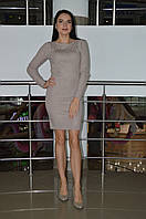 Женское трикотажное платье с бусинками Турция