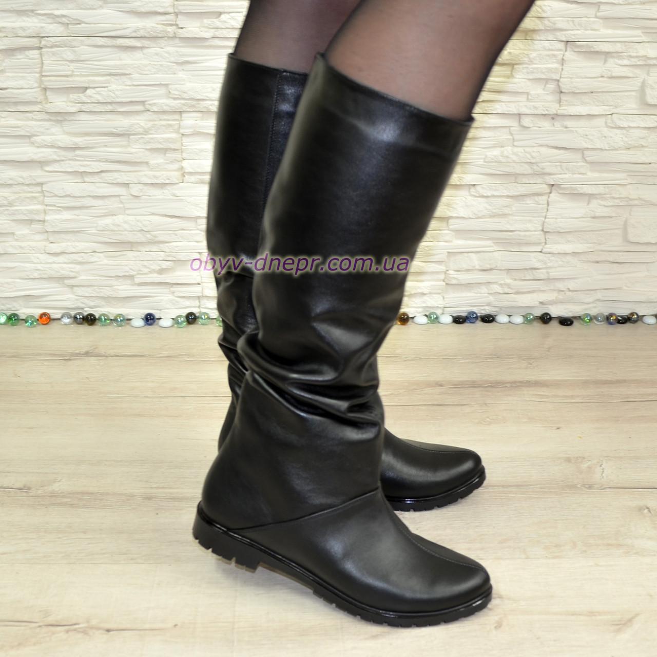 """Шкіряні жіночі чоботи """"вільного одягання"""" на маленькому підборах"""