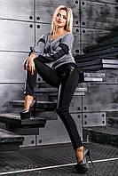 Лосины черные женские с кожаными вставками