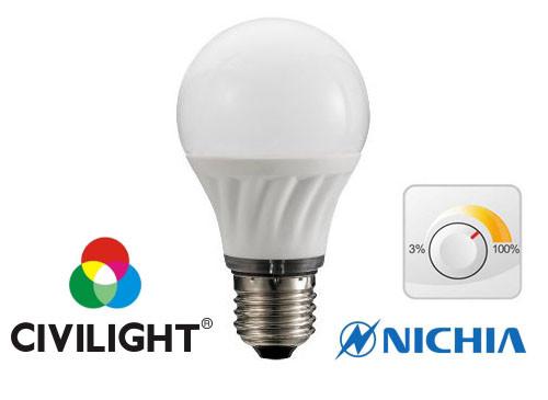 Светодиодная лампа CIVILIGHT DA60 K2F40T7 диммируемая 7Вт 2700К CRI90 Е27 5317