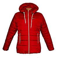 Куртка женская красная с капюшоном на синтепоне  K1225