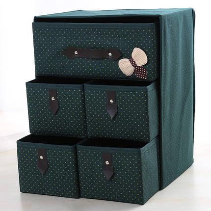 Органайзер для білизни і одягу Комодик 5 ящиків Зелений, фото 2