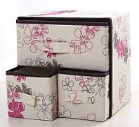 Органайзер для белья и одежды Комодик 3 ящика Нежные Цветы