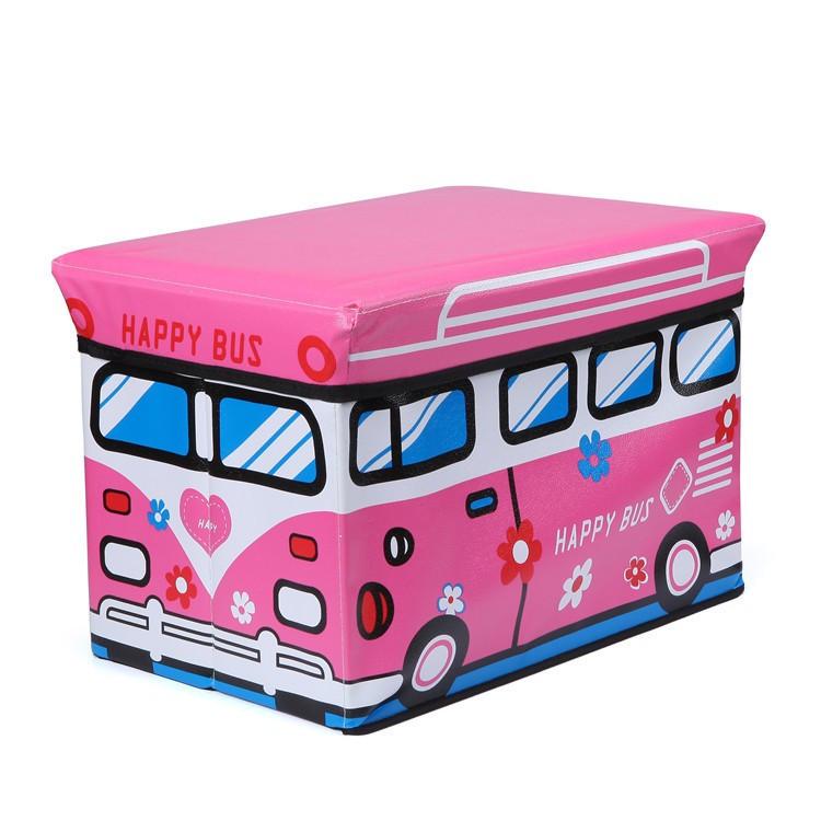 Пуф Короб складаний, ящик для іграшок Рожевий Автобус