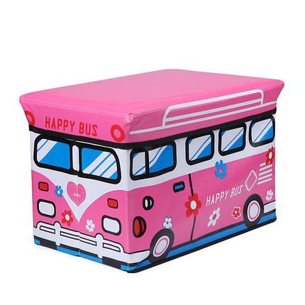 Пуф Короб складаний, ящик для іграшок Рожевий Автобус, фото 2