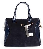 Сумка женская замшевая лакированная синяя Fashion Milano, Синий
