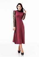 Купить платье с кружевом ниже колена. Модель П102_поливискон бордо., фото 1