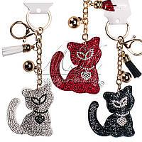 """Брелок со стразами """"Красная кошка""""   6,5 см"""